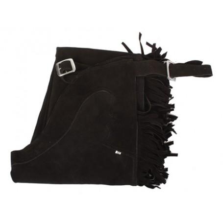 Black Leather Western Suede Chaps M L XL