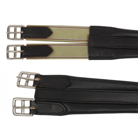 Black English Leather Girth W Elastic Ends 46-52
