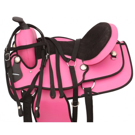 Pink Western Synthetic Horse Saddle Tack 17