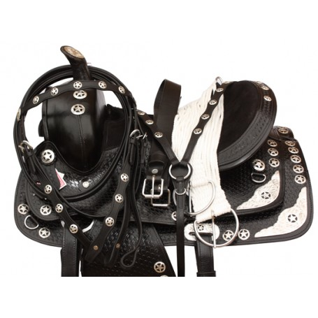 Black Texas Star Horse Show Saddle Tack Set 15 18