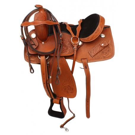 Comfortable Tan Tooled Western Pleasure Trail Saddle 17