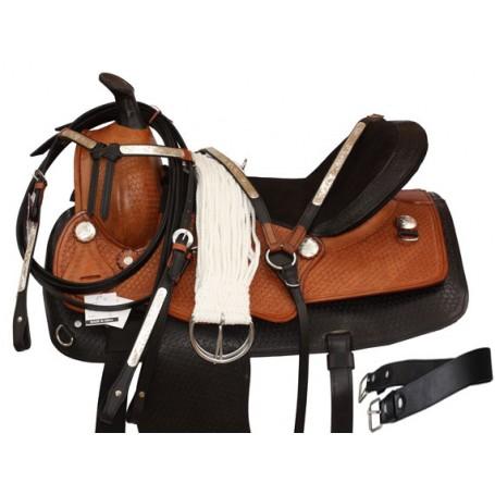 Two Tone Tooled Saddle Show Tack 15