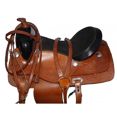 Tan Comfortable Western Pleasure Trail Horse Saddle 15