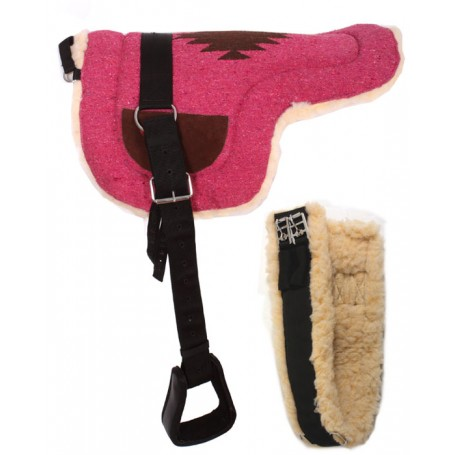 Pink Wool Bareback Pad With Stirrups Girth Strap