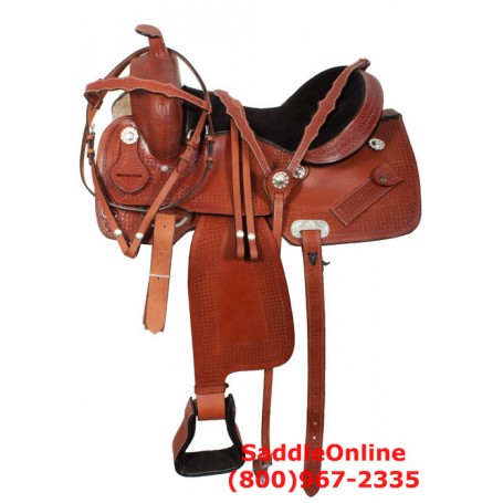 Comfortable Tan Tooled Western Pleasure Trail Horse Saddle