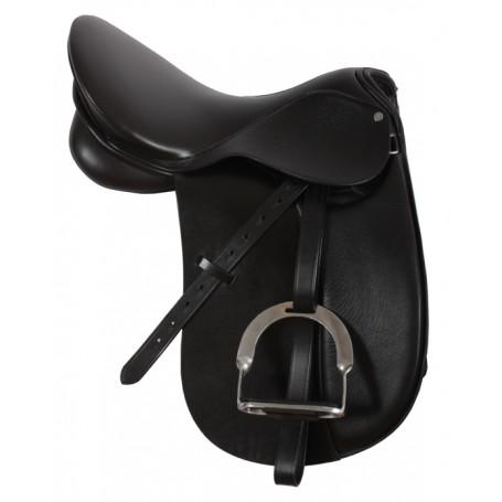 Premium Quality Black Leather Dressage Saddle 17