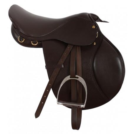 Premium Quality Brown Close Contact English Saddle 16-17