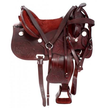 15 16 17 Mahogany Hand Carved Western Horse Saddle Tack