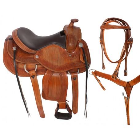 Premium Tan Reining Western Horse Saddle 15