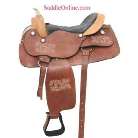 NEW TOOLED RAWHIDE WESTERN HORSE SADDLE