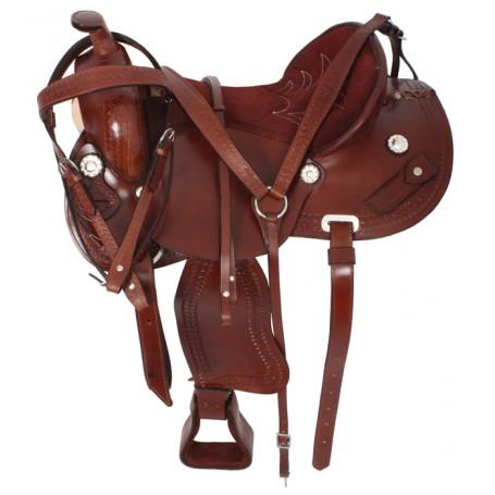Premium Brown Western Pleasure Trail Saddle Tack 15-17