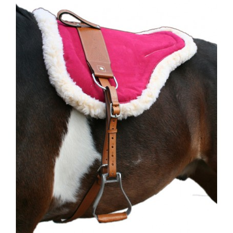 Natural Horsemanship Pink Leather Bareback Pad With Stirrups