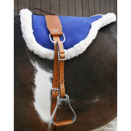 Blue Leather Bareback Pad With Stirrups Girth