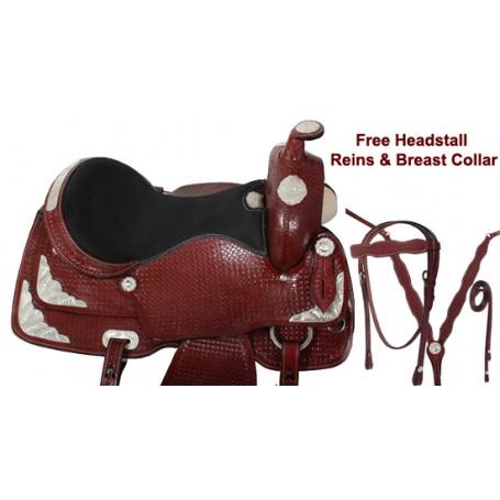 Mahogany Tooled Western Show Saddle Tack Seat 17