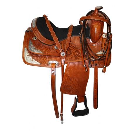 Tan Western Leather Show Horse Saddle 16 17