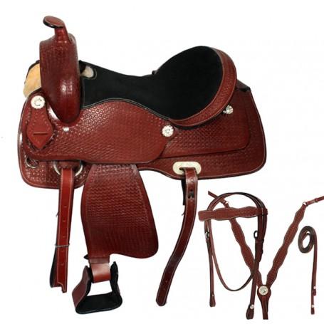 Hand Tooled Leather Western Pleasure Trail Saddle 16 17