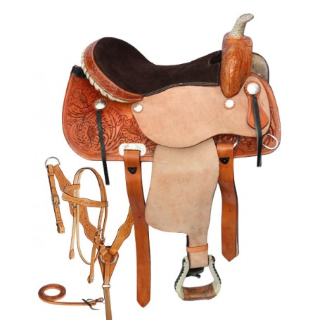 Western Barrel Racing Rawhide Horn Leather Saddle 14