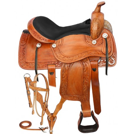 Hand Carved Western Leather Horse Saddle Tack 15