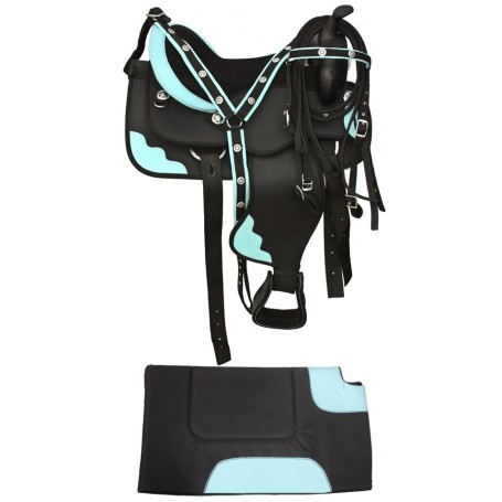 Premium Black Blue Synthetic Horse Saddle With  Tack 16-17