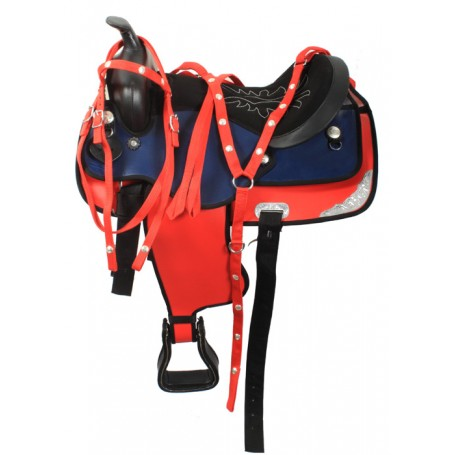 15 Red Blue Synthetic Western Trail Horse Saddle Tack