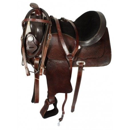 15 16 17Brown Western Horse Leather Pleasure Saddle Tack