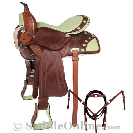16 Barrel Racing Green Ostrich Seat Western Saddle