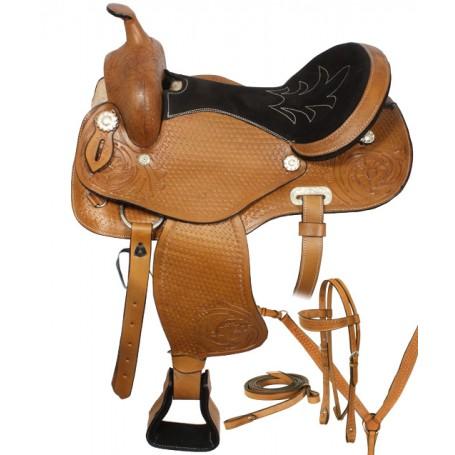 Round Skirt Western Trail Horse Saddle Tack 16-17