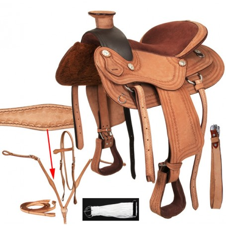 Natural A Fork Western Trail Pleasure Saddle Tack Set 15 16