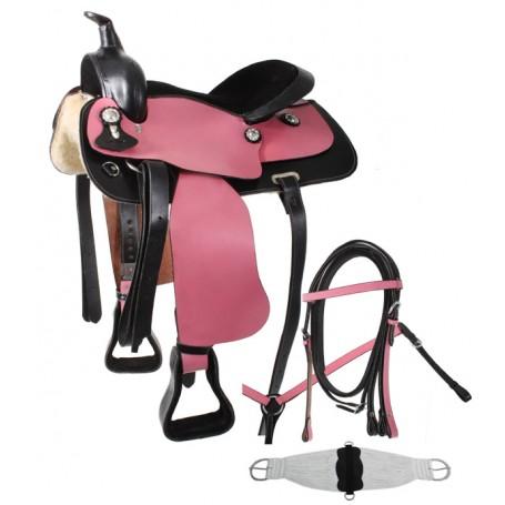 Pink Black Western Pleasure Trail Horse Saddle 15