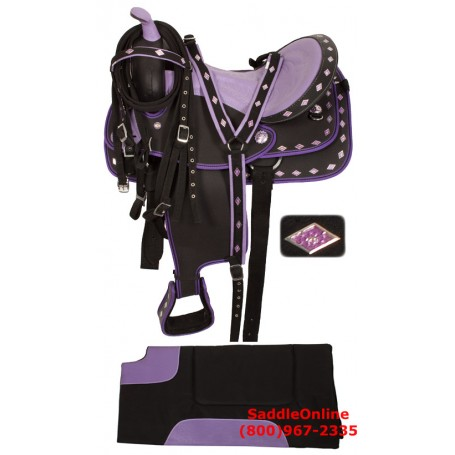 Purple Ostrich Synthetic Western Horse Saddle Tack 17