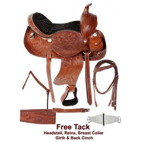 Hand Carved Western Pleasure Trail Horse Saddle Tack 15-17