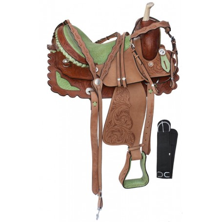 15 16 Barrel Racing Green Ostrich Seat Horse Saddle Tack