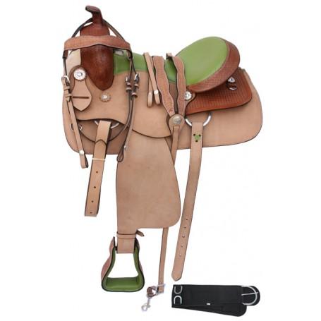 Western Pleasure Trail Green Seat Horse Saddle 16