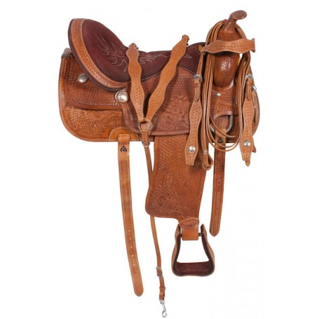 Western Pleasure Hand Carved Trail Horse Saddle 14 17