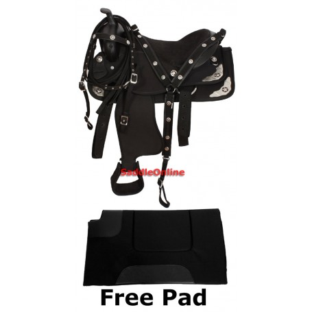 Synthetic Black Texas Star Show Horse Saddle Tack Pad 15 18