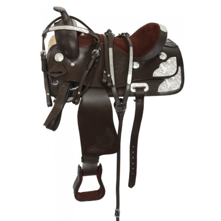 Kids Youth Pony Show Saddle Tack Brown 13 14
