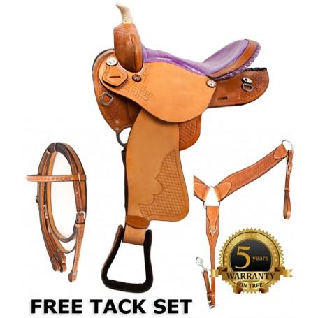 Barrel Racing Purple Ostrich Horse Saddle Tack 14