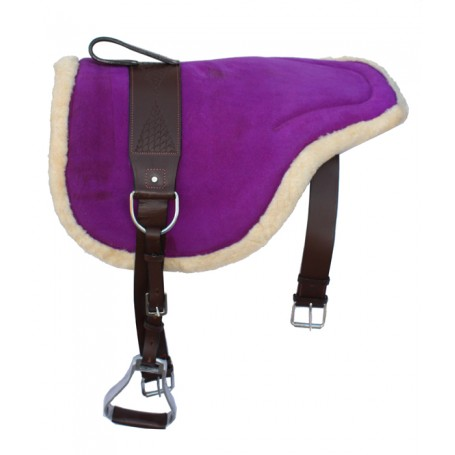 Purple Leather Bareback Pad With Stirrups Girth