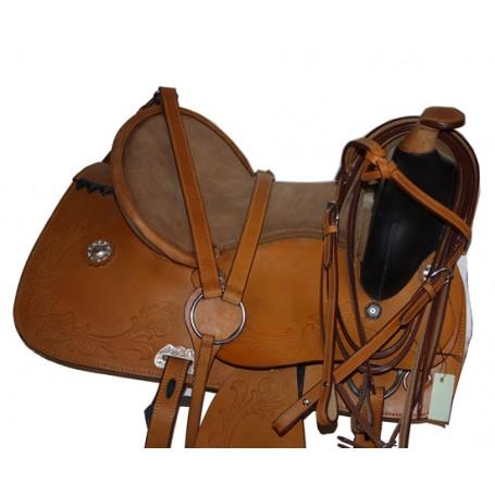 Tan Western Trail Pleasure Horse Leather Saddle