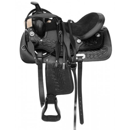 Trail Western Black Leather Horse Saddle Tack 15-18