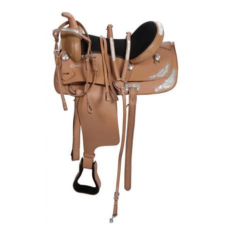 Western Pleasure Trail Tan Horse Leather Saddle 15-17