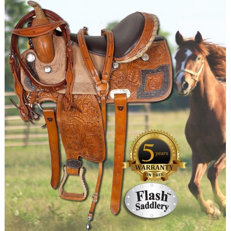 Brown Rough Out Barrel Racing Ostrich Seat Saddle 14
