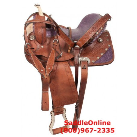 15 16 Barrel Racing Purple Ostrich Seat Saddle Wood Tree