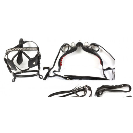 New Black Horse Size Leather Driving Harness