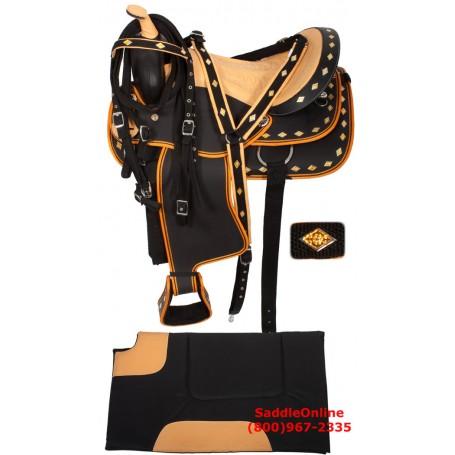 Orange Black Synthetic Ostrich Seat Saddle 14