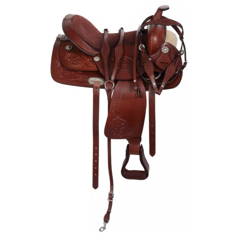 Trail Western Brown Leather Horse Saddle Tack 15-18