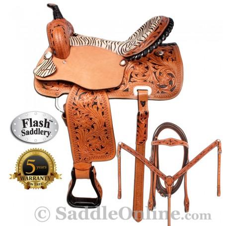 Zebra Western Horse Barrel Racing Saddle 15 16 by Flash
