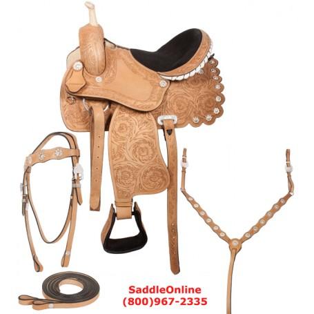Fancy Hand Carved Western Barrel Racing Saddle Tack 16