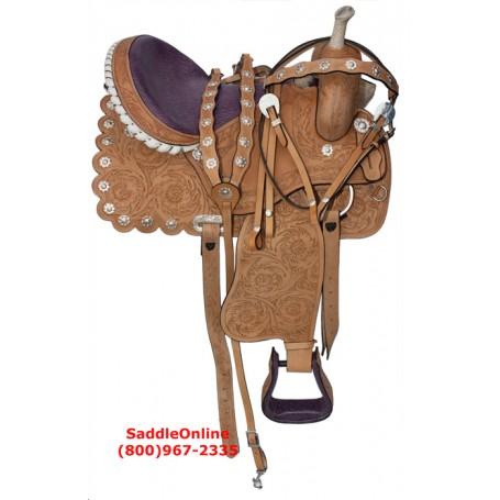 Barrel Racing Purple Ostrich Seat Horse Saddle Tack 16