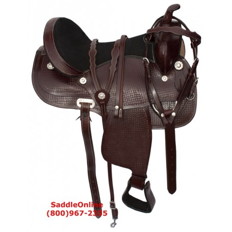 New Western Pleasure Leather Trail Horse Saddle 16 17